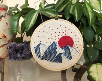 Hand Embroidered Mountain Scene