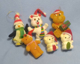 Vintage Flocked Christmas Ornaments ~ Penguin, Bears, Mice