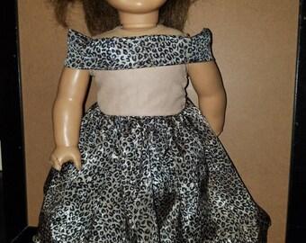 Tan leopard print dress- Fits American Girl- 18 inch dolls- NEW!