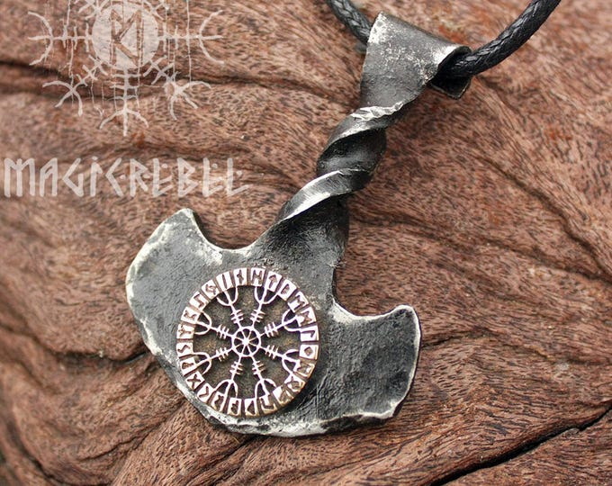 Forged Iron Twisted Handle Mjolnir Bronze Aegishjalmur Helm of Awe Futhark Handmade Viking Thor Hammer Pendant FM8