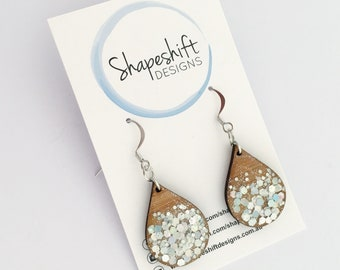 Teardrop Resin & Bamboo Dangle Earrings With Holographic Silver Glitter