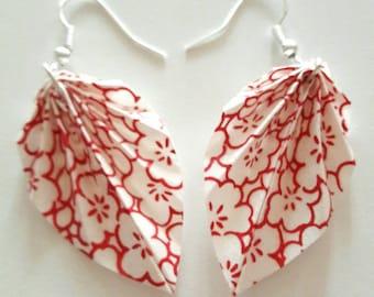 Origami - Burgundy and white leaf earrings.