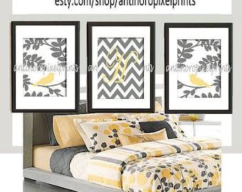 Personalized Digital illustration Wall Art Bird Prints  Art  -Set of (3) - 8 x 10 Prints - Yellow Grey (UNFRAMED)