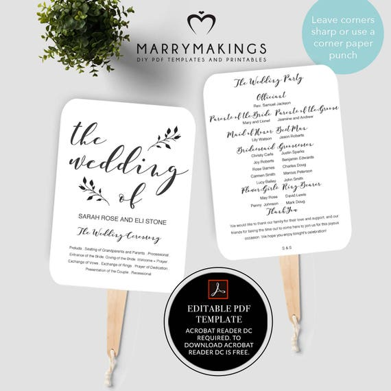 Wedding Program Template Printable Program Wedding Fan