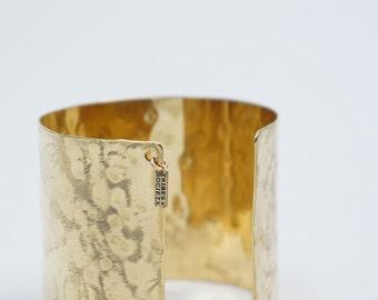 Wide Hammered Brass Cuff