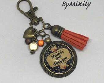 Handbag cabochon - personalize - cabochon tassel key chain - gold - orange - gift - unique gift idea - black - heart