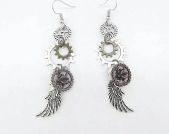 Steampunk Gear Wing Dangle Earrings