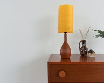 Vintage Small Teak Table Lamp with Amber Fibreglass Shade