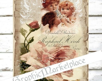 Rose Angels Large Image Instant Download Vintage Transfer Fabric digital collage sheet printable No. 1171
