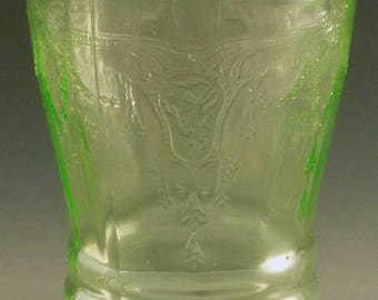 """Cameo 4"""" Flat Water Tumbler 9 Ounce Oz Ballerina Green Depression Glass Dancing Girl Hocking Glassware Vintage Authentic Excellent Condition"""