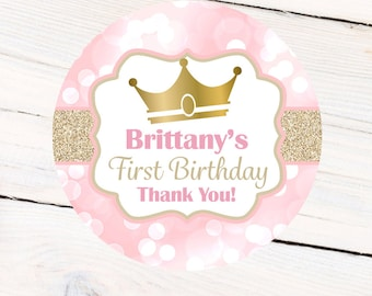 First Birthday Princess Personalized Stickers, Birthday Crown Personalized Labels - Favor Labels