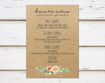 Printable Rustic Wedding Menu, Kraft Paper, Menu Template, Chic, Floral, Peach Coral Yellow, Simple, Elegant, Casual, Boho, MB015