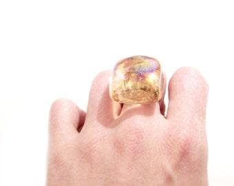 Orange Ice Cube Glass Ring