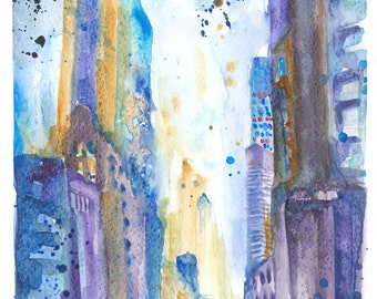 New York Manhattan Original Watercolour painting Abstract Impressionist Colorful Modern Watercolor Wall art Skyline Gift idea