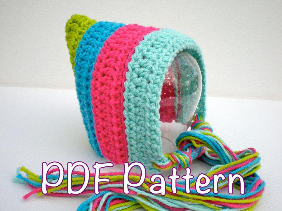 Pattern Striped Pixie Bonnet Newborn Baby Hat Easy Crochet