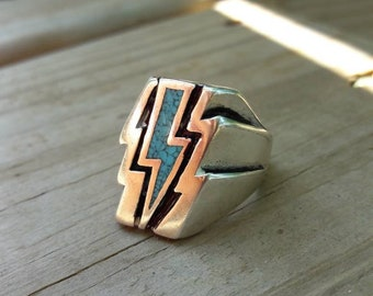 Vintage Turquoise Lightening Bolt G&S Biker Ring - Size 10
