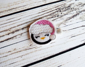 Handcrafted Little Winter Penguin Feltie Clip - Pink and White Penguin Hat Hair Clip - Small Baby Bows - Christmas Stocking Stuffer - Happy