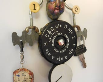 PITCH PIPE GIFT, Metal Sculpture, Original Mixed Media, Found Object Art, Musician Gift, Music Lover Gift, Piano Player Gift, Tuning Fork