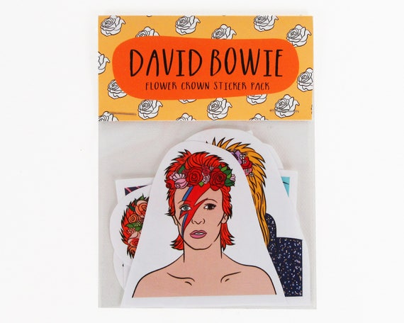 David bowie flower crowns 6 piece sticker set david bowie stickers star man ziggy stardust aladdin sane glam rock labyrinth from bestieclub