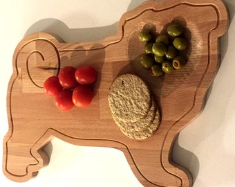 Wooden Pug Serving Chopping Board Reversible