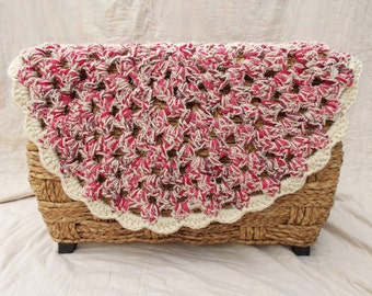 Crochet Granny Circle Doily Rug - Rag Rug - Farmhouse - Cottage Chic - Pink - Optional Non-Slip Backing