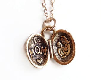 Mother's Day Necklace - Open Locket Mother and Child - Mom and Baby necklace - mom necklace