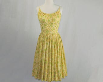 Vintage 1950s Jerry Gilden Dress 50s Yellow Sketched Garden Floral Print Full Skirt Sundress
