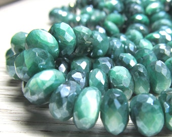 Emerald Green Moonstone Rondelle Beads 9 x 5mm Iridescent Faceted Coated W/ a Permanent AB Sheen - 20 Pieces