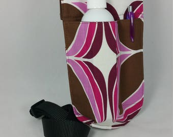 Massage therapy LEFT hip single holster with pen pocket, brown & pink geometry, black belt