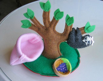Sloth miniature felt plushie stuffed animal- handmade tree playset -pink sleeping bag- play food- black- gift for her -cute- birthday gift