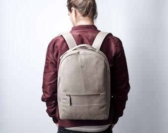 Grey Leather Backpack, 13-inch Laptop Rucksack, Back To School. Travel Designer Bag. Personalized Gifts For Men. Mens Bags. Custom Monogram