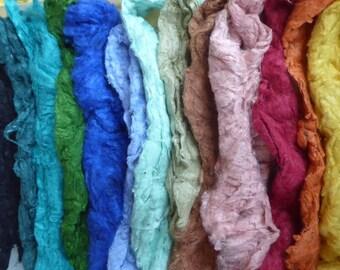Sumptuous Silk mega pack 100g dyed tussah silk noils mix
