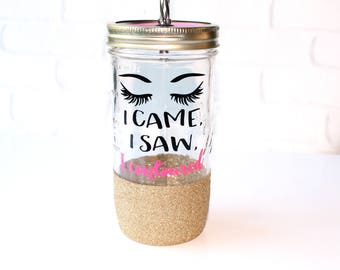 Gift for Makeup Lover / Beauty Blogger Contouring Glitter Dipped Tumbler / Makeup Artist Gift / I Came I Saw I Contoured