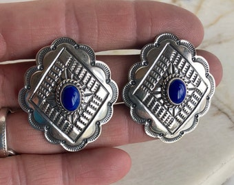 Native American Navajo Large Sterling Silver Lapis Tooled Concho Earrings, Concho Earrings, Navajo Earrings, Lapis Earrings, Southwestern