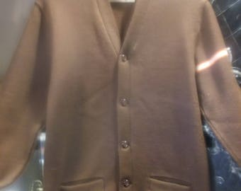 1950s Double Knit Brown Sweater, sz S