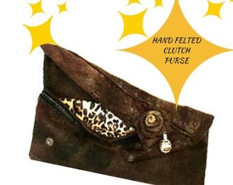 Chocolate Wristlet Clutch, Resort Style Felt Purse, Felt Clutch, Designer Clutch, Felt fashion clutch, Stylish Purse, Stylish Fashion Clutch