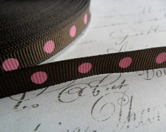 Chocolate Brown and Pink Polka Dot Grosgrain Ribbon 3/8 wide