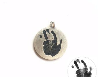 Handprint Necklace, Baby Footprint Necklace, Personalized Handprint Jewelry, Childs Handprint Necklace, Personalized Jewelry