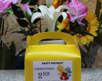 12 Personalized Elmo and friends  Box - Elmo and friends Party Treat Goody Box-Elmo and friends Birthday Theme