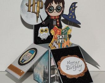 Harry Potter, Happy Birthday handmade 3D pop up greeting card, grey