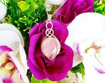 Rose Quartz Necklace, Rose Quartz Pendant, Celtic Necklace, Gemstone Necklace, Necklace, 925, Sterling Silver, Healing Crystal, Gift for her
