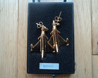 """Clivedon Collection Aeroplane earring, in box, """"RAFALE"""""""
