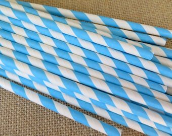 Light Blue and White Striped Paper Straws, Blue Paper Straws, 25 Count, Birthdays, Weddings, Bridal Shower, Baby Shower Party Supplies
