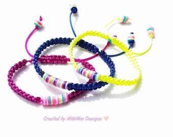 Rainbow Bracelets,Heishi Bracelets,Macrame Bracelets,Woven Bracelets,Friendship Bracelets,Vinyl Heishi Beads,Ibiza,Boho,Summer,Festival,Neon