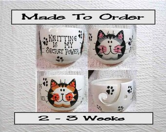 Made To Order Knitting Is My Secret Power Tabby Cats Yarn Bowl Earthenware Clay by Grace M Smith