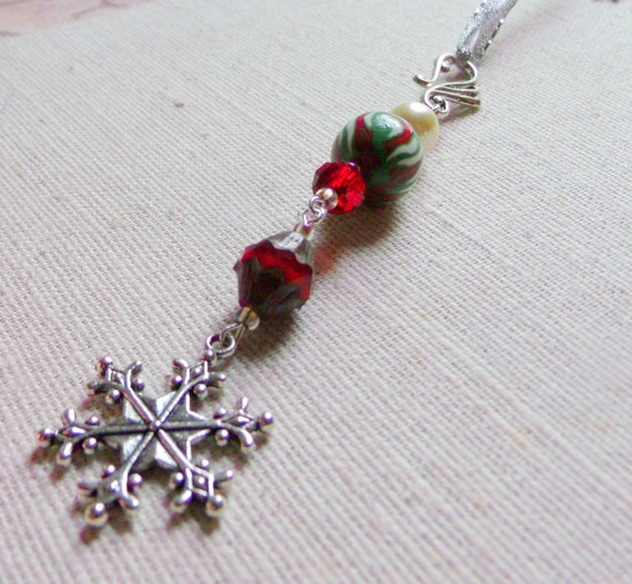 Christmas Ornaments- tree decor - bell  - snowflake charms  - red candy cane green polymer clay -  stocking stuffer - grab gift