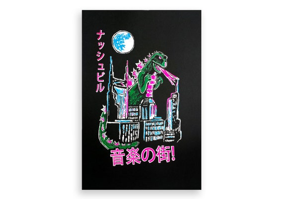 Godzilla over Nashville Screen Printed Poster