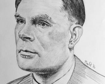 Original pencil portrait of Alan Turing