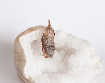 Elestial Quartz Pendant, Skeletal Elestial Quartz Necklace, Smokey Phantom Quartz necklace Men pendant Quartz Elestial pendant for men