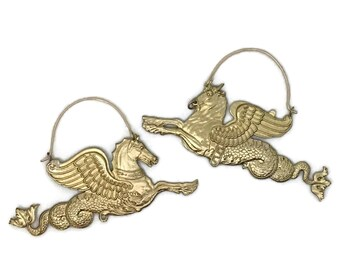 Sea Monster Earrings | Brass Earrings | Statement Earrings | Fantasy Animals | Hippocampus